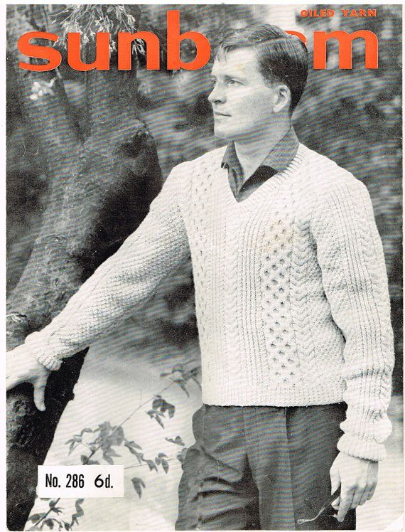 VINTAGE Men\'s SWEATER PATTERN 1950s Bulky Aran by LearnToDoIt, $2.75 ...