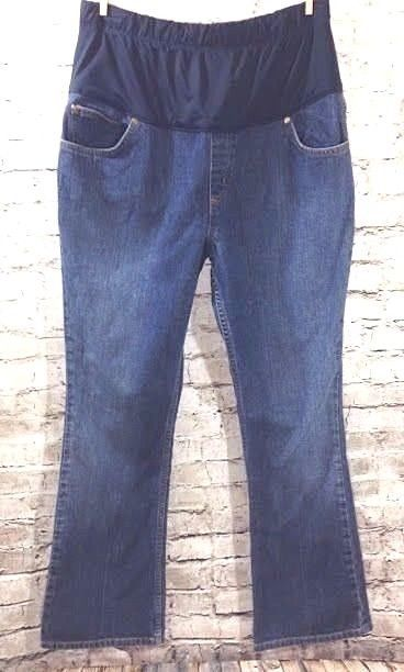 a6f39278e4c7e LIZ LANGE Target Maternity Boot Cut Jeans Sz 10 Dark Distressed Belly Panel  31