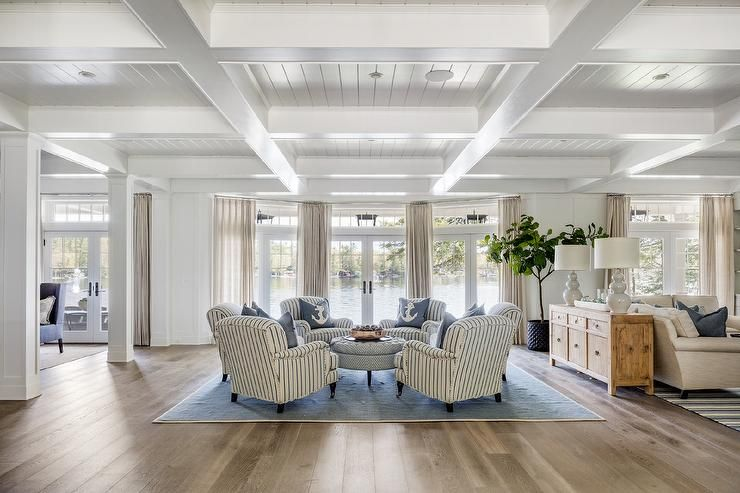 Stately Cottage Home Features A White Shiplap Coffered
