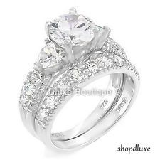 415 CT ROUND CUT CZ 925 STERLING SILVER WEDDING RING SET WOMENS