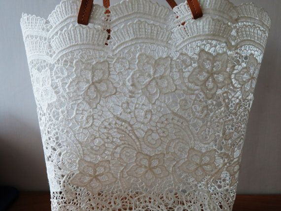White Romantic Lace Tote Lace Bag White Bag by TapiokaBoutique, $24.99