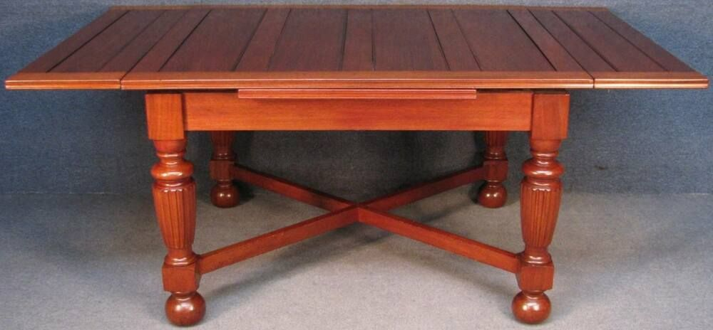 1920s Large Solid Mahogany Draw Leaf Extending Kitchen Dining