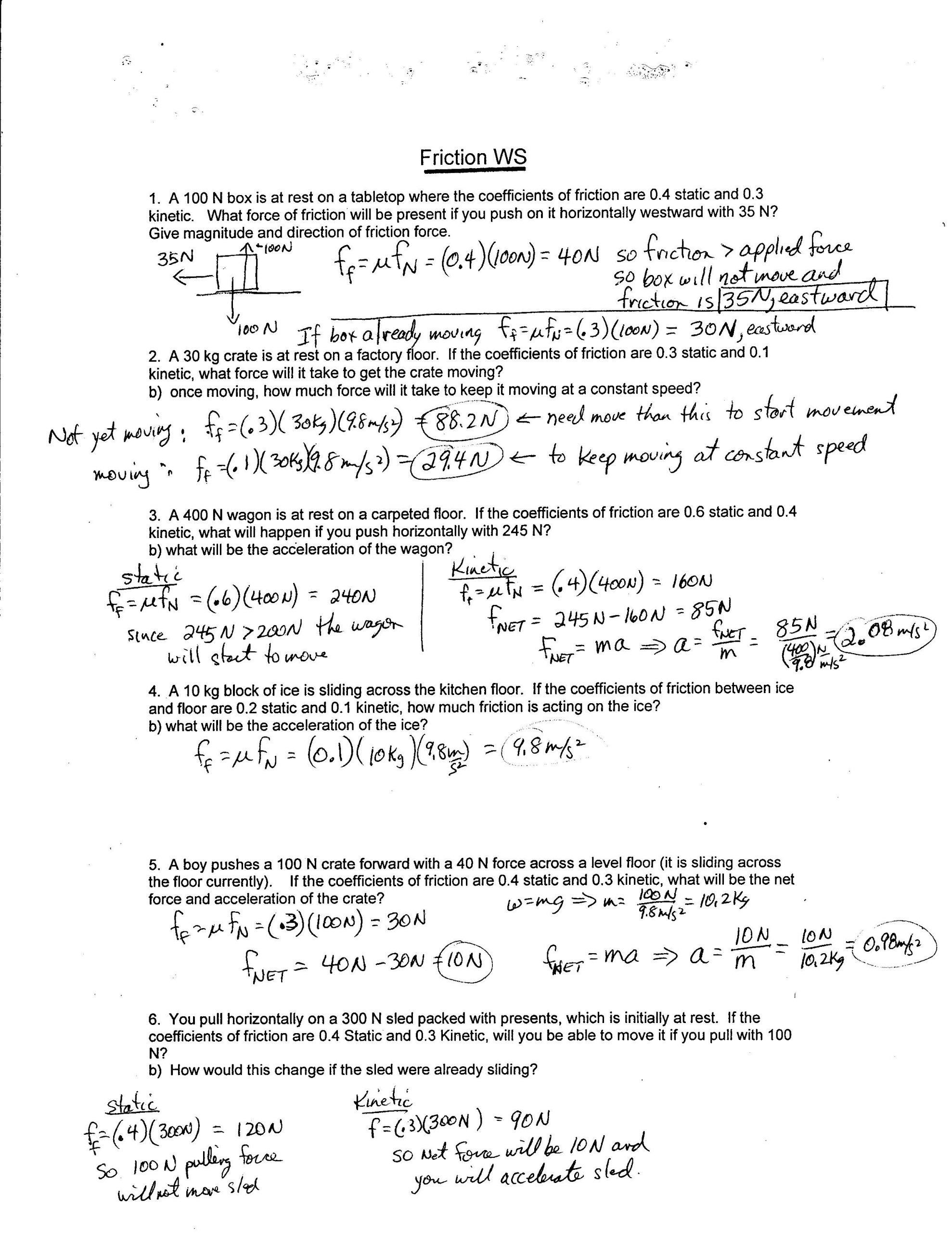 Which Law Worksheet Answers Physics 11 2017 Force Worksheets In 2020 Word Problem Worksheets Calculating Force Worksheets