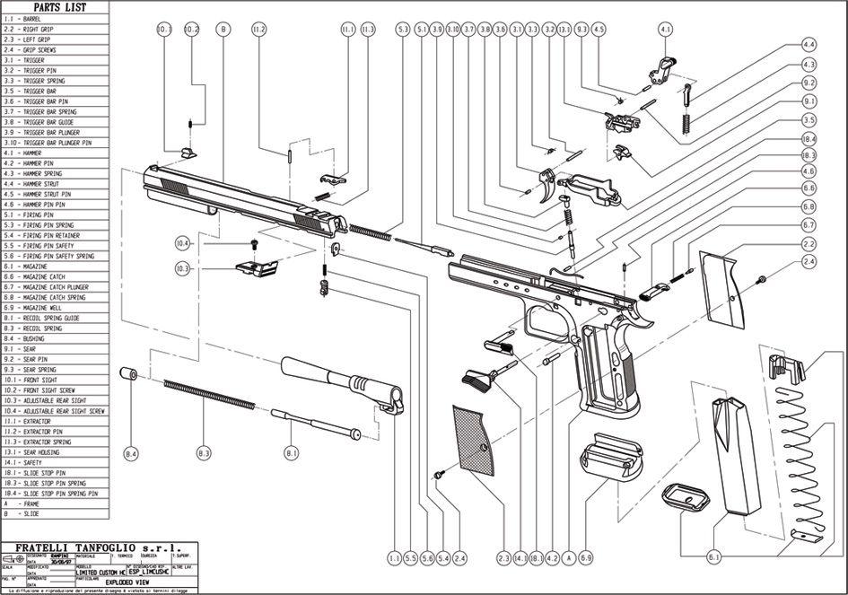 Tanfoglio Exploded View Ipsc shooting, Gunsmithing