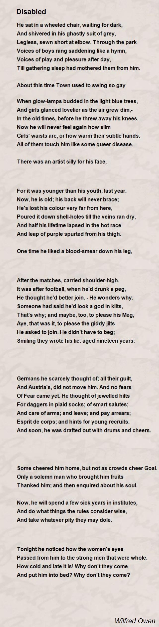 Comparing the two poems Refugee Blues by W H Auden and Disabled by     Disability Arts Online