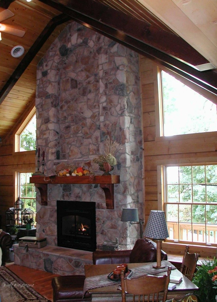 Indoor Rustic Stone Corner Fireplaces Indoor Stone