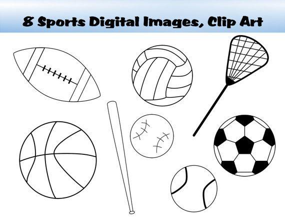 Sports Fans Football Soccer Lacrosse Tennis Baseball Volleyball Basketball And Baseball Bat Digital Images Clip A Clip Art Digital Image Lacrosse Team