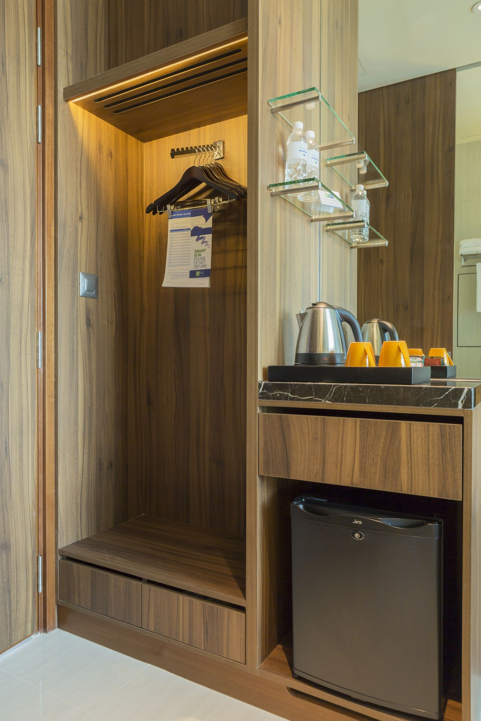 Hotel Room Design: In Room Closet And Mini-Fridge At Holiday Inn Express