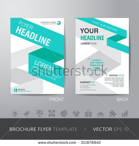 ribbon business brochure flyer design layout template in A4 size - pamphlet layout template