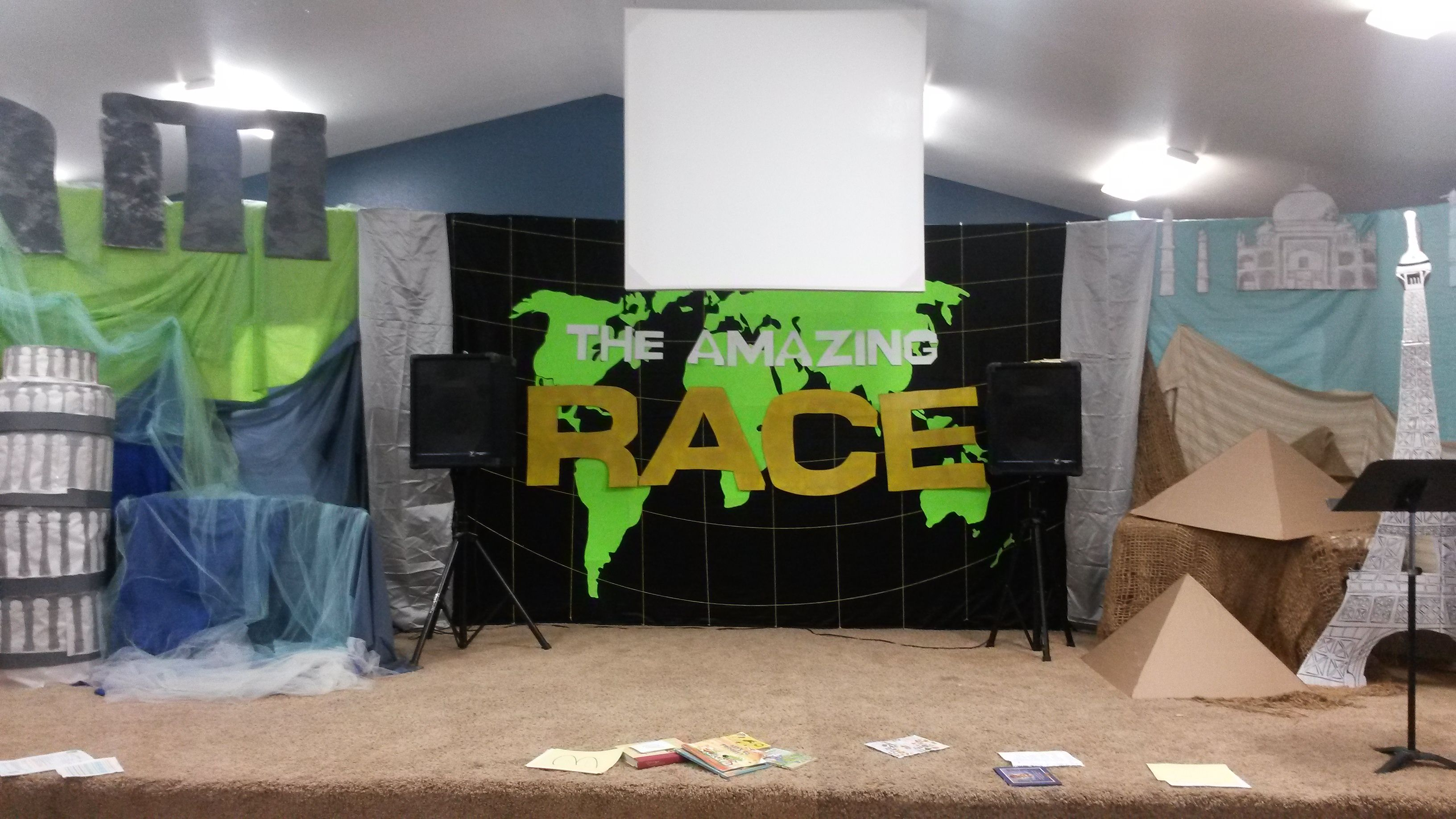 Childrens Ministry Stage Decorations  Amazing Race Theme Wonders Of