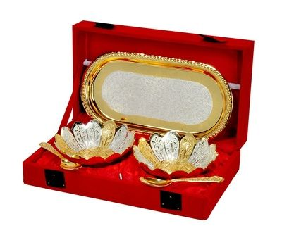Silver And Gold Plated Floral Shaped Brass Bowl And Tray Set Of 5 Pcs By Jaipur Ace Brass Handicrafts on Shimply.com