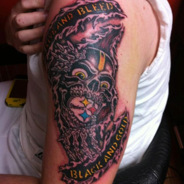 This would be a sweet cover up over my sponge bob tattoo for Pittsburgh tattoo ideas