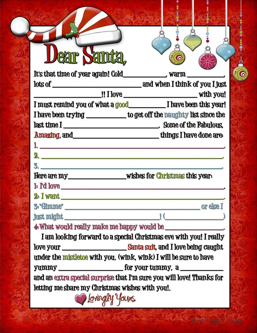A letter to Santa... for Adults! (wink, wink Santa