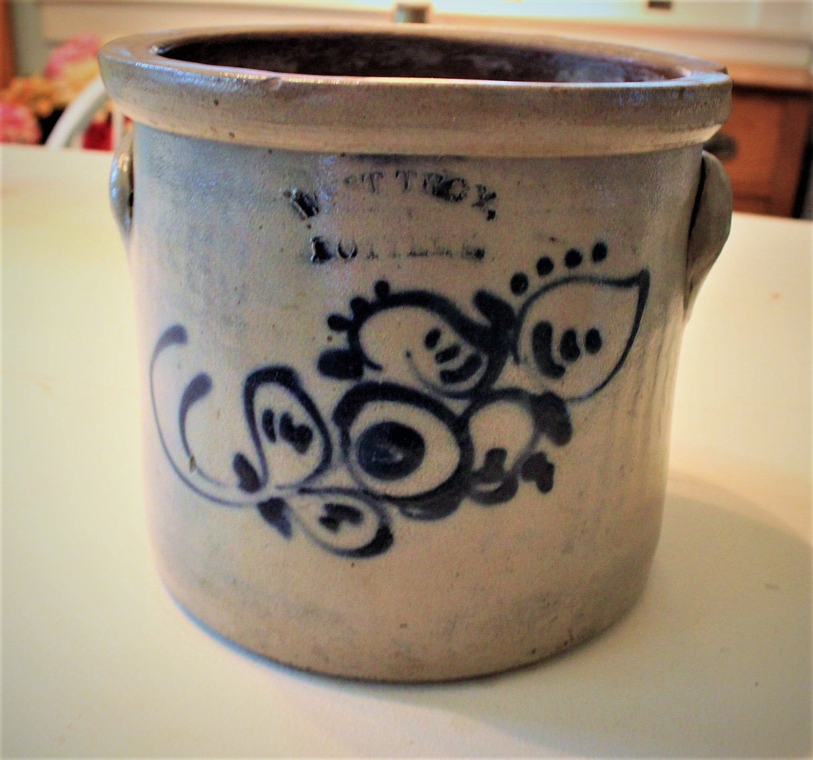 Antique West Troy Ny Crock One 1 Gallon Classic Collectors Late 1800 S Country Butter Crock Primitive Stoneware Butter Crock Crock Antique Crock