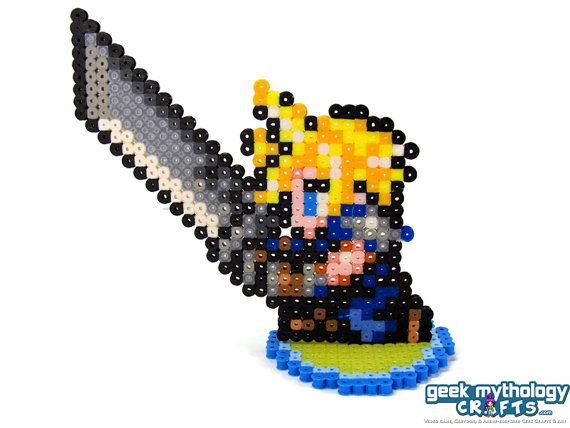 Final Fantasy Vii Cloud Strife Perler Pixel By Geek