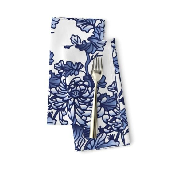 Floral Dinner Napkins (Set of 2) - Chinoiserie by olgart - Blue Peonies  Spring Kitchen Home Decor Flowers Cloth Napkins by Spoonflower #bluepeonies
