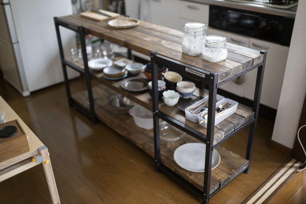 カンタンdiyに革命 アイアンパーツでキッチン用作業棚を作ったらqolが爆上がりした Roomie ルーミー 棚 作業台 キッチン レンジ台 Diy