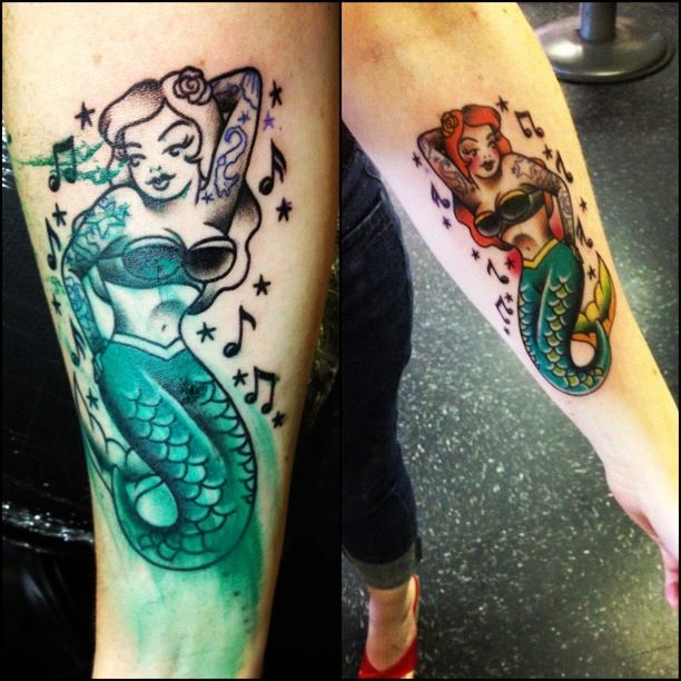 my recent mermaid pin up tattoo so this is my style pinterest tattoo body art and. Black Bedroom Furniture Sets. Home Design Ideas