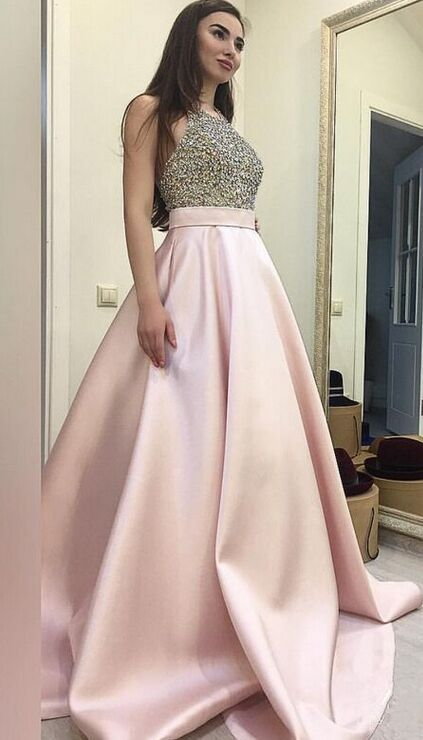 Halter Prom Dresses,Pink Prom Dresses,Beaded Prom Dresses ...
