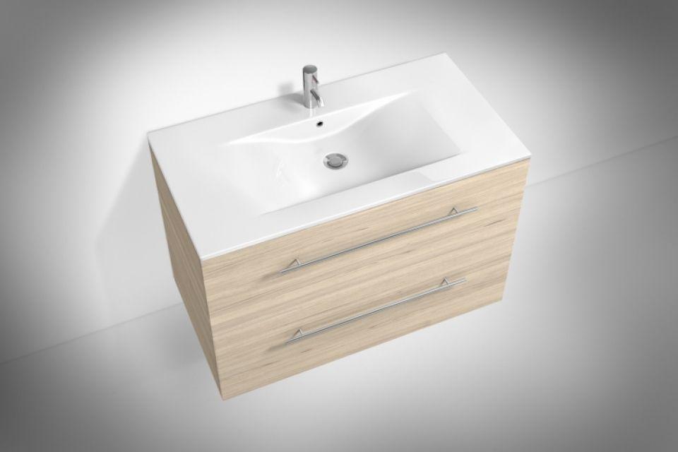 Waschplatz fürs Badezimmer in Sonomaeiche-Holz, Breite ca 80 cm - parkett für badezimmer