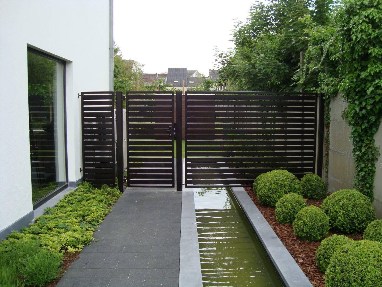 Moderne poorten metalen tuinpoorten en draaipoorten for Moderne afsluiting tuin