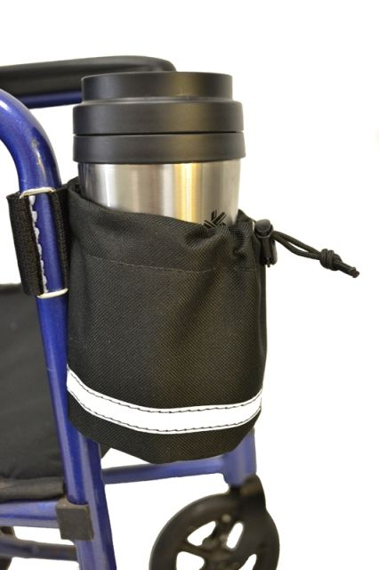 Unbreakable Cup Holder With Vertical Mount Wheelchair Accessories Pouch