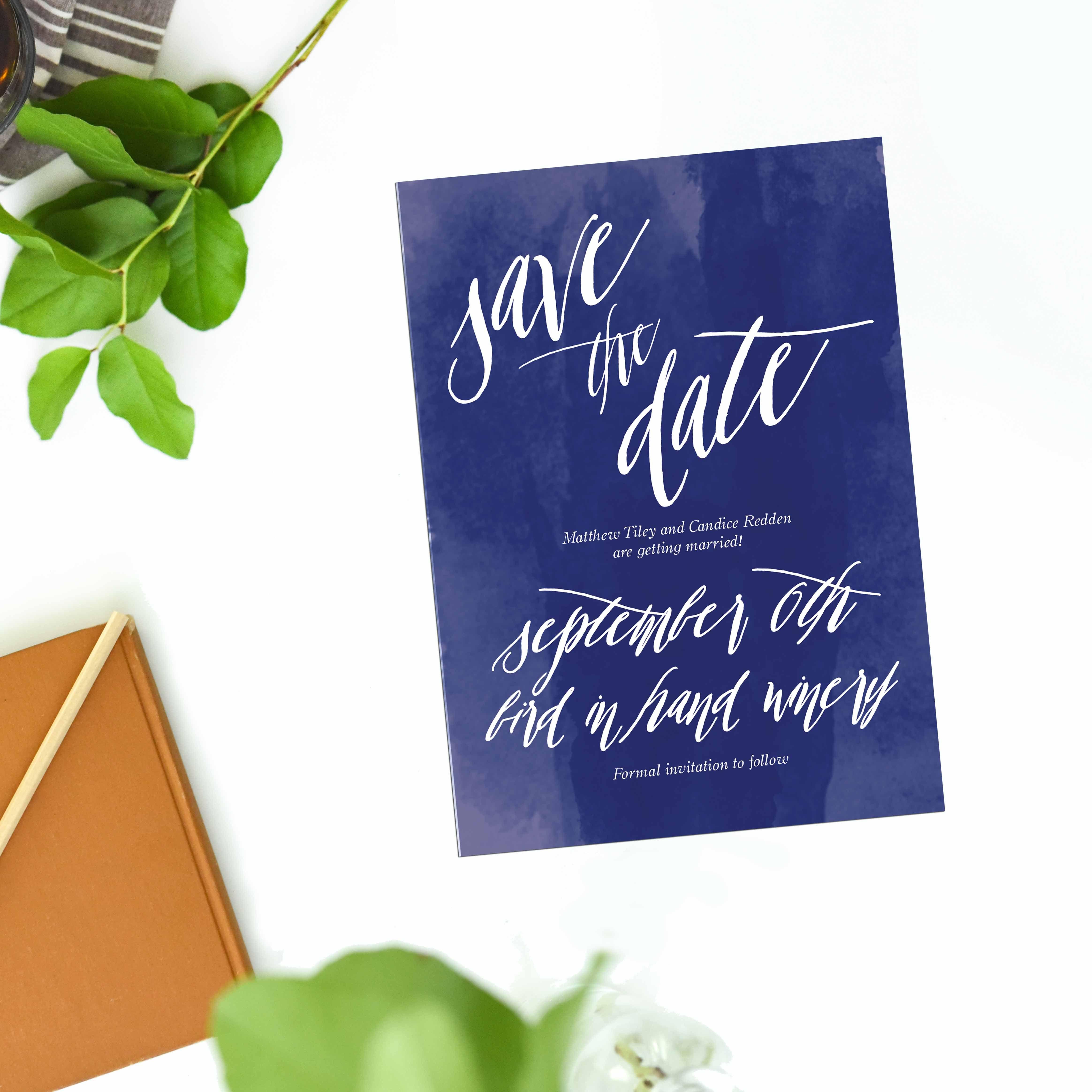 Navy Blue Watercolour Wedding Invitations Sail and Swan