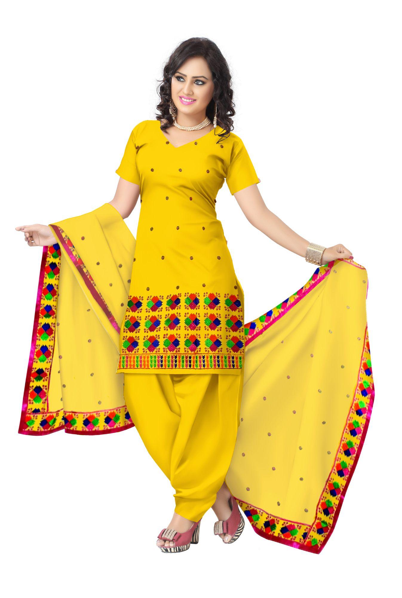 f21b690f00 Unstitched Phulkari Suit Piece Cotton Silk- Yellow | punjabi suits ...