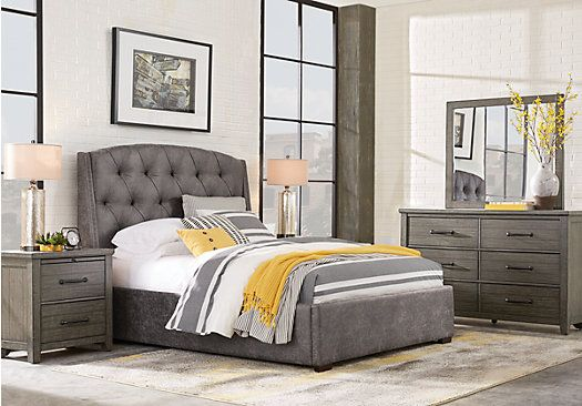 Best Picture Of Urban Plains Gray 5 Pc King Upholstered Bedroom From King Bedroom Sets F… Bedroom 400 x 300