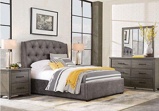 Urban Plains Gray 5 Pc Queen Upholstered Bedroom Bedroom Sets