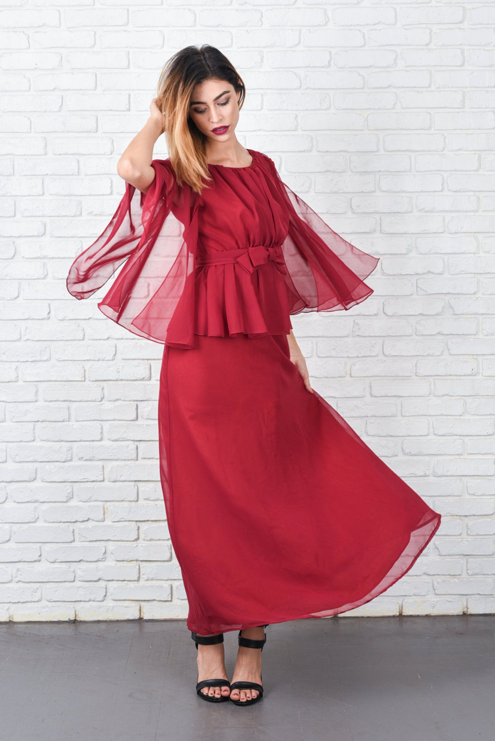 204021a0bb Cranberry Red Boho Dress Vintage 70s Sheer Cutout Slv Angel Bow ...