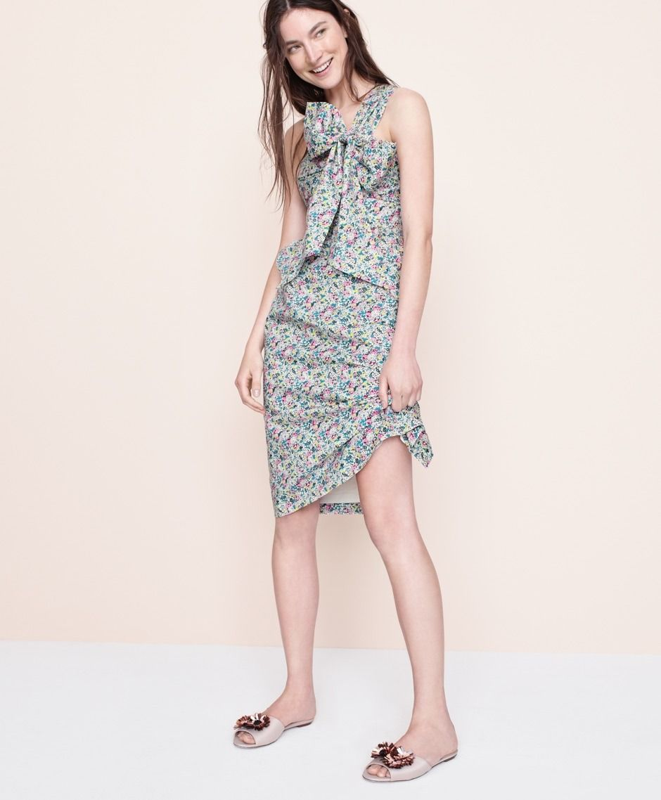32fb2a7c63b0 J.Crew women s one-shoulder tie dress in Liberty® Claire-Aude floral and  satin slides with floral embellishments.