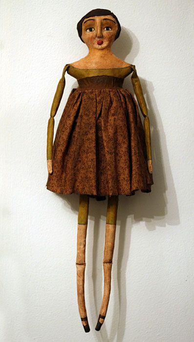 primitive folk art cloth and clay doll