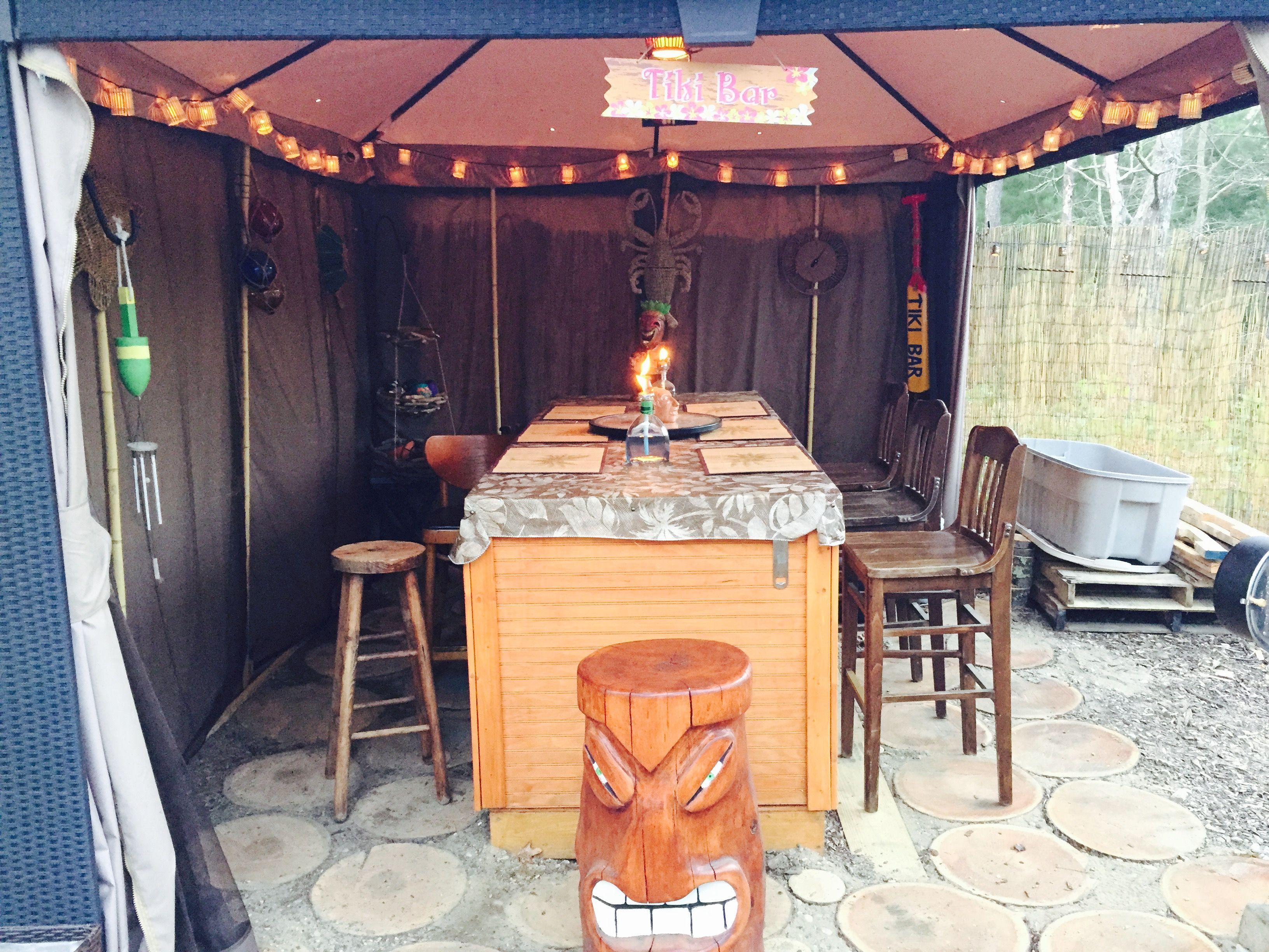 Tiki Tent with home made tiki stool. & Tiki Tent with home made tiki stool. | Camp | Pinterest | Stools