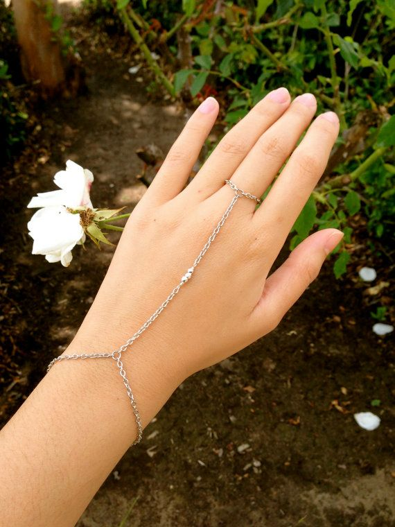 Sterling Silver Plated 3 Nugget Bead Hand Chain Bracelet Ring