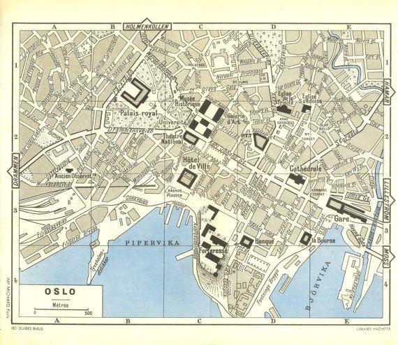 Oslo Vintage City Map 1955 Street Plan Norway Scandinavia City