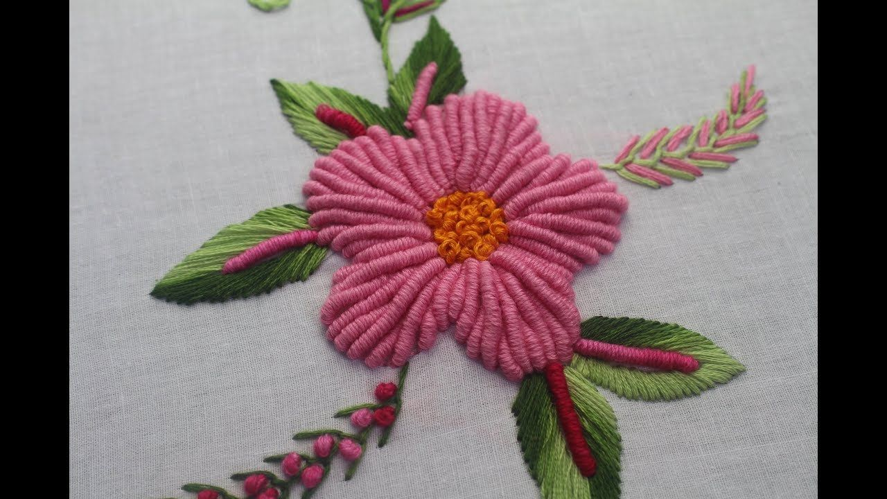 Hand embroidery designs bullion knot stitch for flower design