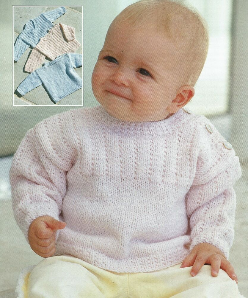 Details about Easy Baby sweater knitting pattern in DK 3 ...