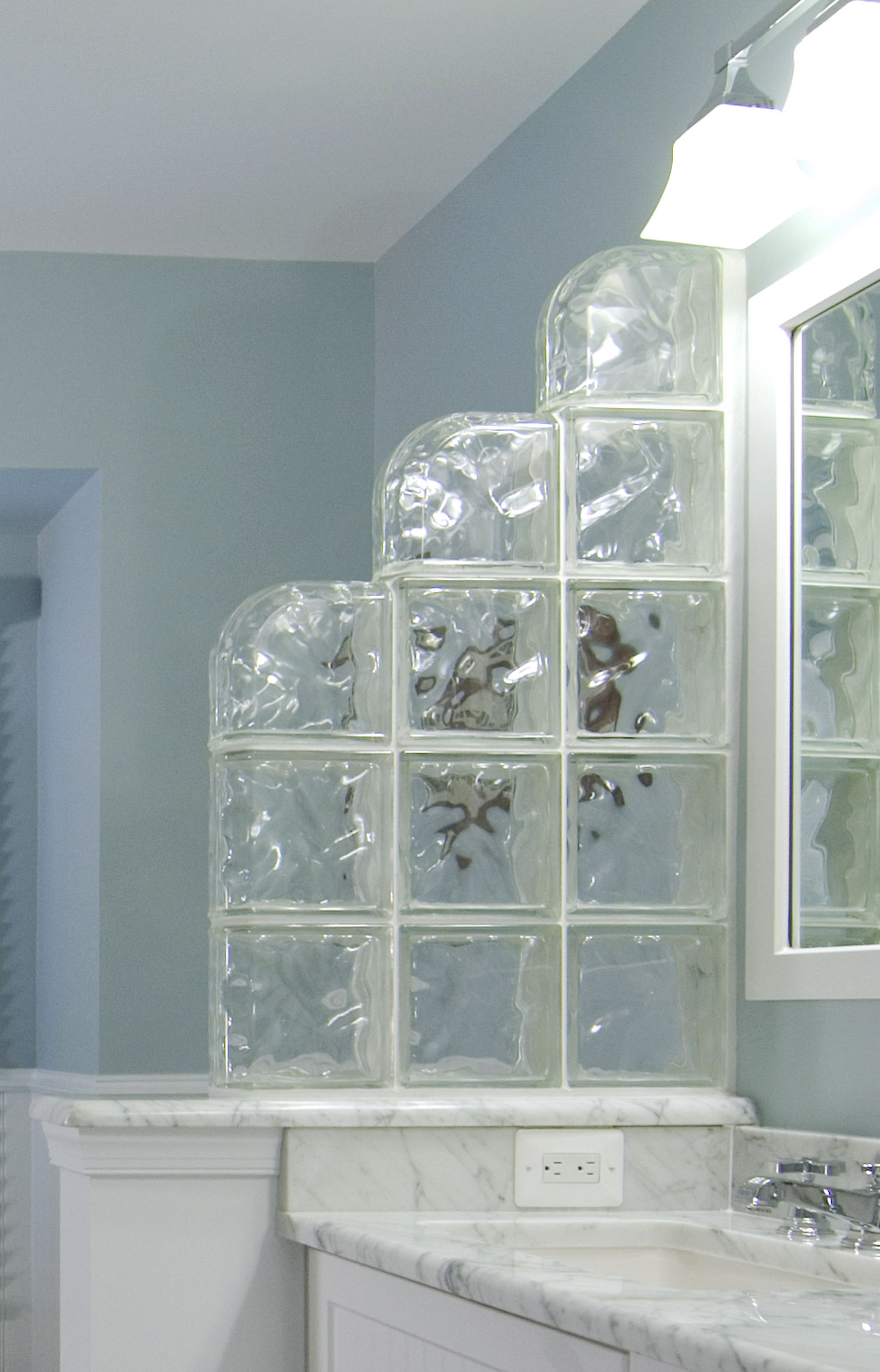 Bathroom dividers glass - The Glass Block Divider In This Bathroom Offers Privacy Between The Sink Area And Toilet