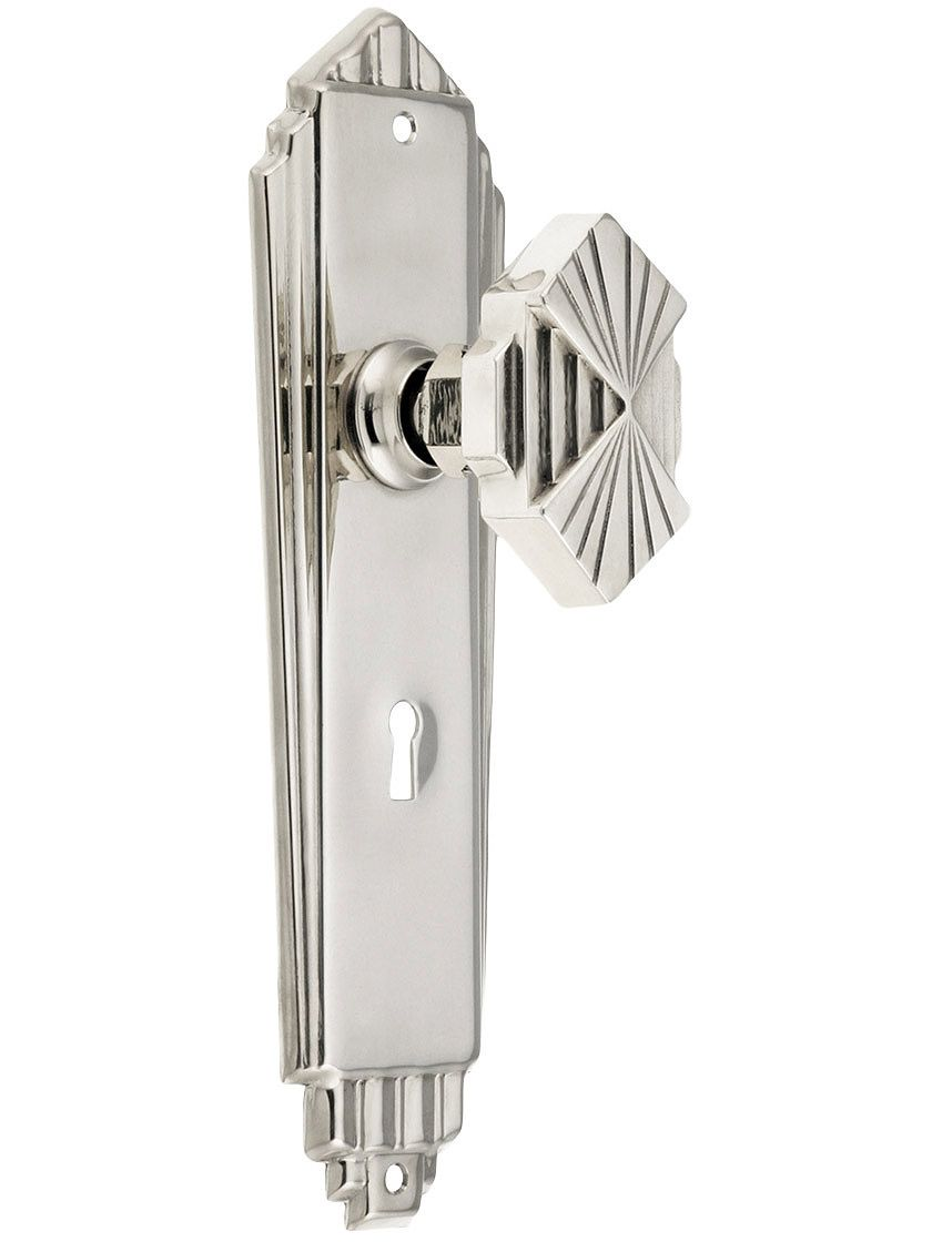 Art deco lock set in polished nickel via house of antique hardware