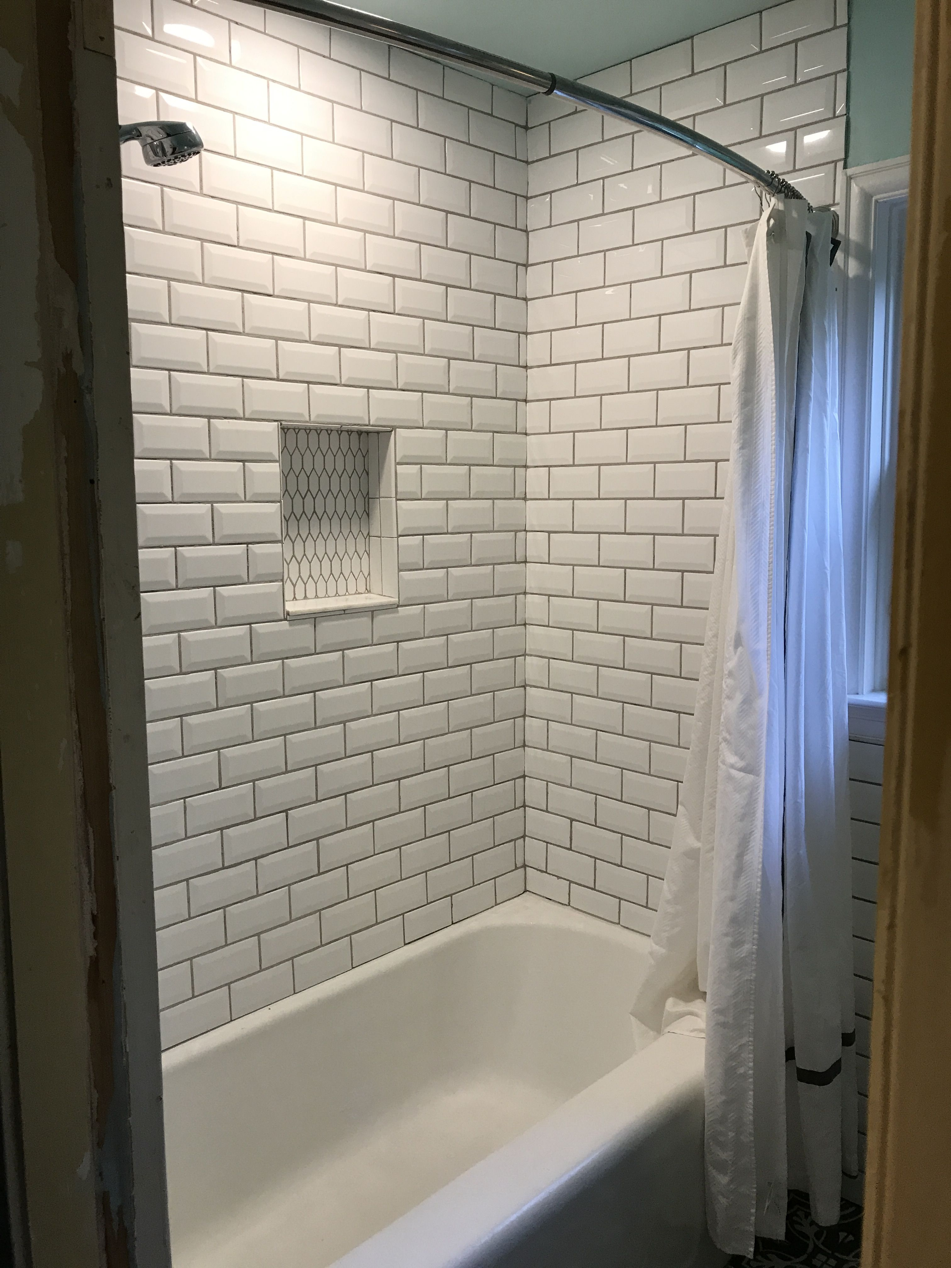 White Beveled Subway Tile Shower Niche In Our 1940 S Cape Cod Main Bathroom White Beveled Subway Tile Beveled Subway Tile Shower Beveled Subway Tile Bathroom