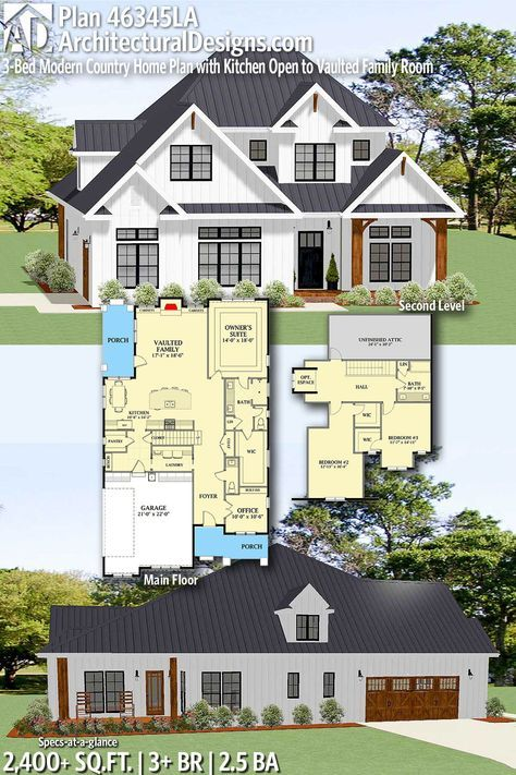 Architectural Designs Home Plan 46345LAgives you 3+ bedrooms, 2.5 baths and 2,400+ sq. ft. Ready when you are! Where do YOU want to build? #46345LA#adhouseplans #architecturaldesigns #houseplans #architecture #newhome #newconstruction #newhouse #countryliving #homeplans #modern #modernhome #architecture #home #homesweethome