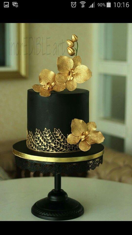 Schwarz Gold Mit Orchideen Tolle Torten Cake Birthday Cake Und