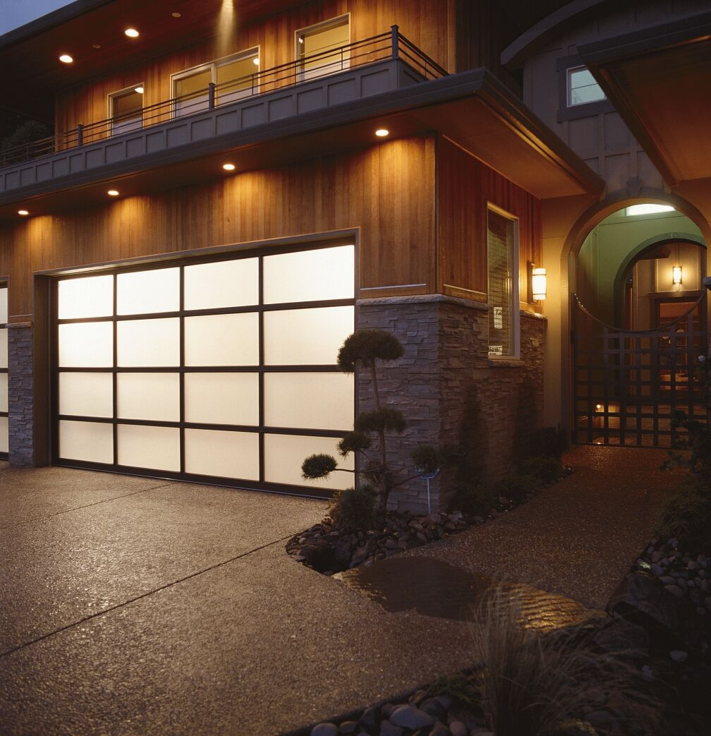 Clopay avante collection aluminum garage doors with frosted glass