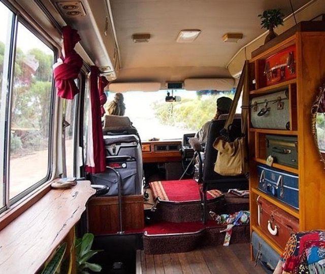 Homemade Camper Suitcase Storage Interior Vintage Suitcases Van Life Happy Campers Caravans Motorhome