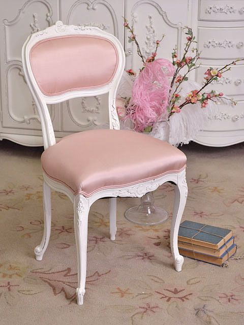 pink shabby chic  shabby cottage chic pink vanity chair