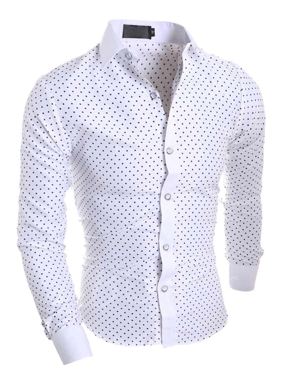 Men Cotton Black Slim Fit Men Long Sleeve Shirt Men Polka Dot Casual Social Shirt