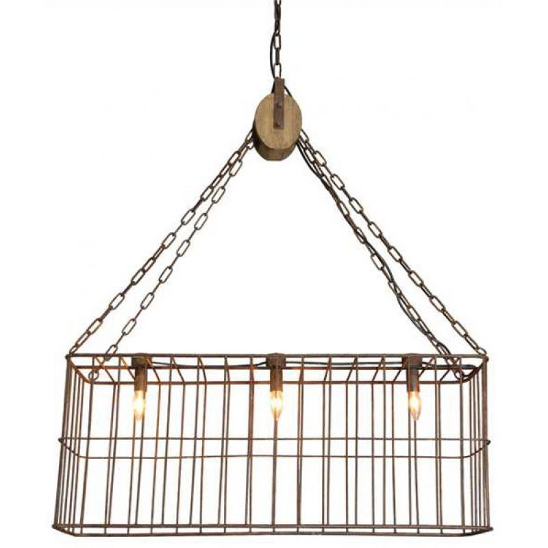 Sure to give your kitchen a rustic farmhouse touch, this rusty wire basket chandelier, finished with a distressed wood pulley, adds vintage style with the convenience of modern wiring.