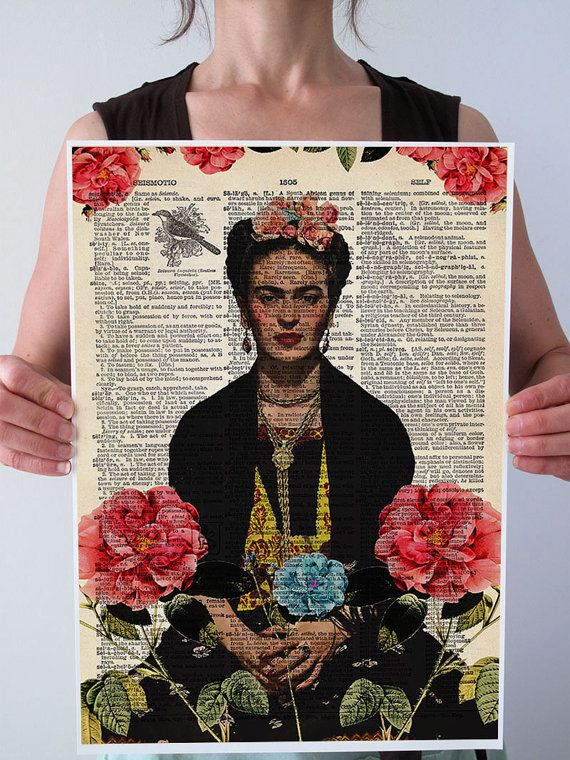 FRIDA Kahlo Roses Vogue Dictionary Art Print by PatricianPrints, $35.00