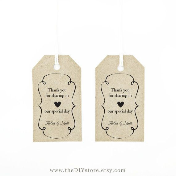 Favor Tag Template MEDIUM Swirly Frame and Heart by TheDIYStore